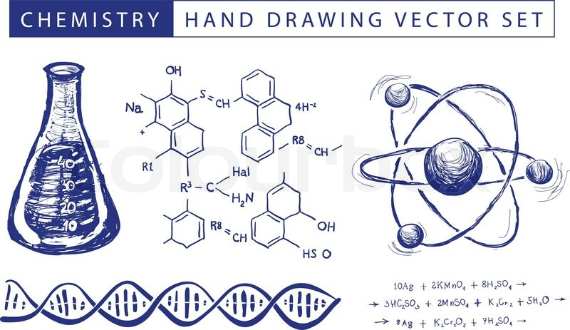 800x463 Chemistry Hand Drawing Vector Set Illustration On White Background
