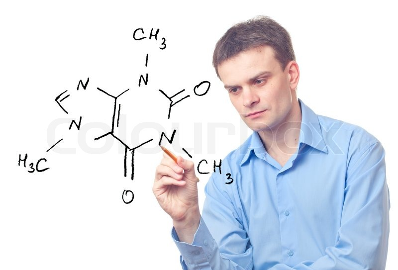 800x543 Young Chemist Drawing A Formula Of Caffeine Stock Photo Colourbox