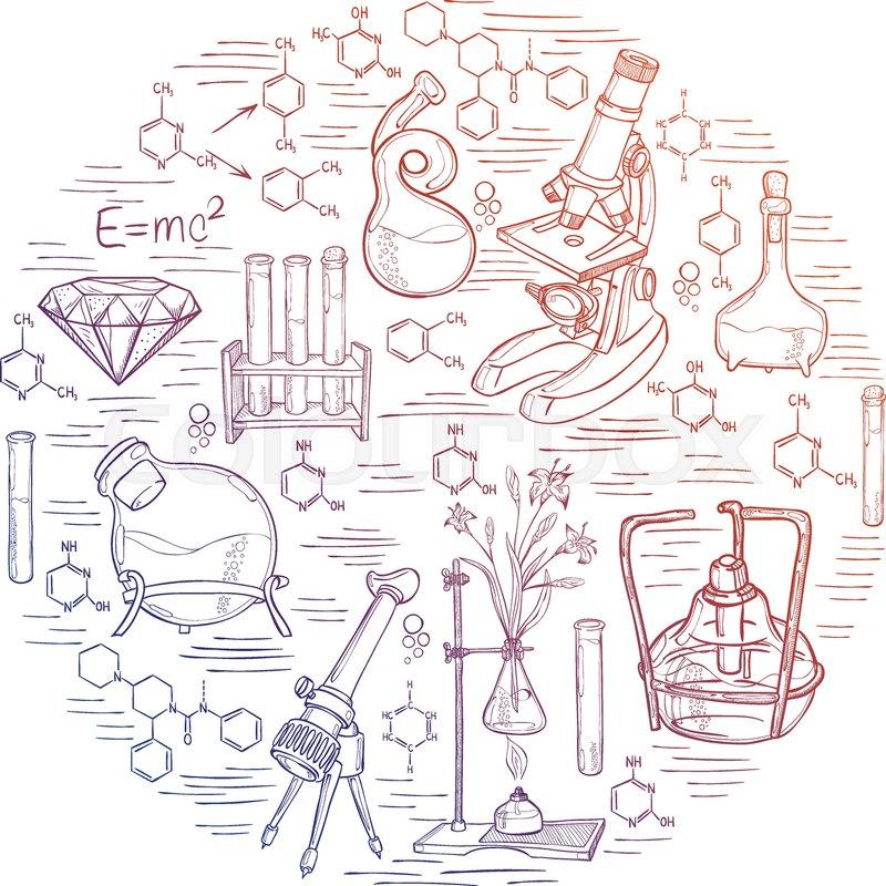 800x800 Hand Drawn Science Vintage Chemistry Lab Sketch Round Banner