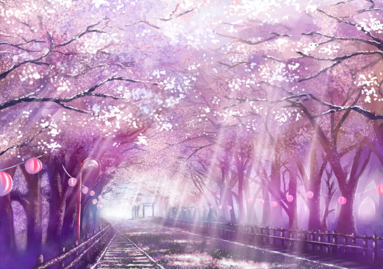 1500x1054 Landscapes Cherry Blossoms Scenic Drawings Anime Wallpapers