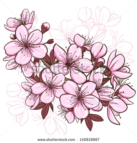 450x470 Cherry Blossom. Decorative Floral Illustration Of Sakura Flowers
