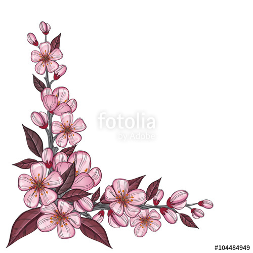 500x500 Tree Branch Drawing With Pink Cherry Flowers For Corner Decoration