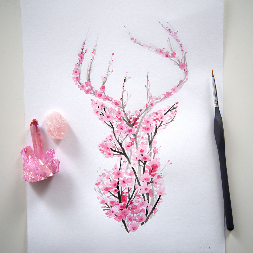 how to draw a cherry blossom flower