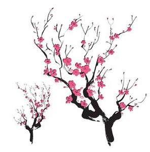 296x300 Cherry Blossom Silhouette Asian Cherry Blossoms Temporary Tattoo
