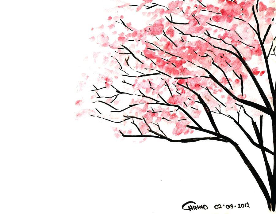 900x700 Sakura Tree Drawing Cherry Blossom By Sakura Tree Drawing Tutorial