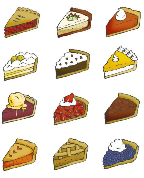 500x621 Twelve Pie Illustrations Cherry Pie, Key Lime Pie, Pumpkin Pie