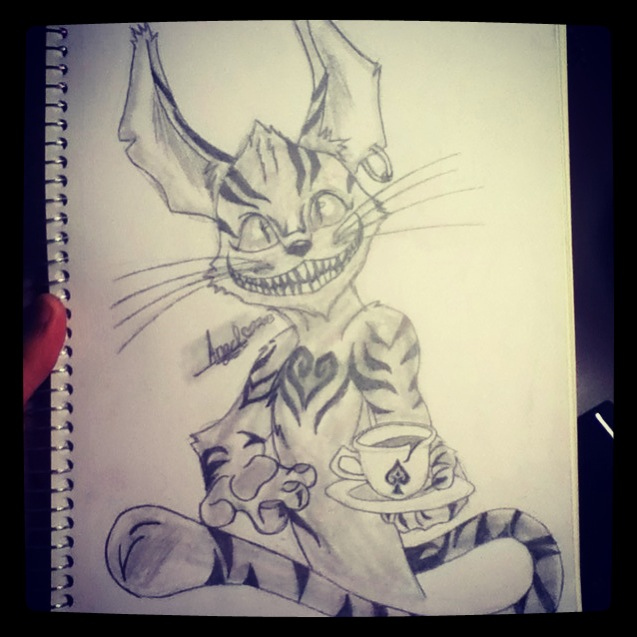 637x637 Alice In Wonderland ( Cheshire Cat Drawing) By Ninjakitty365