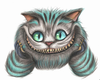 340x270 Cheshire Cat Drawing Etsy