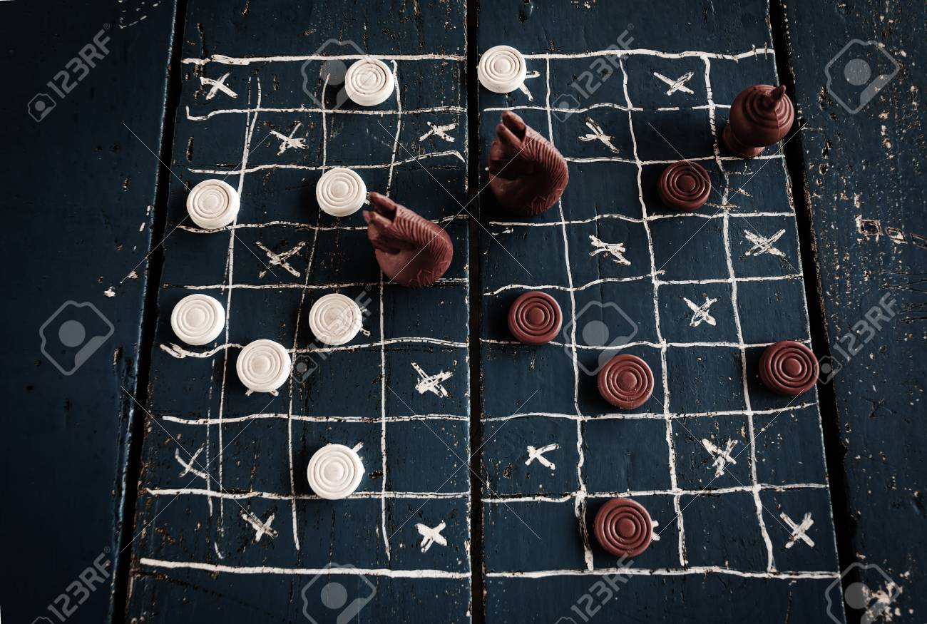 1300x875 Checkers Drawing On Wooden Table. Ancient Intellectual Board