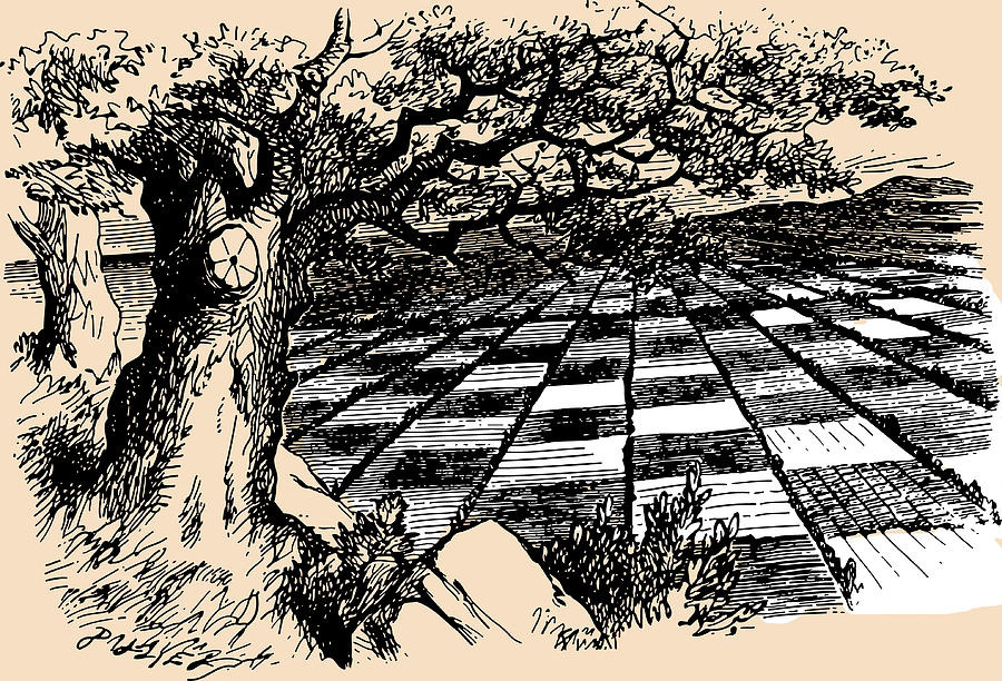 900x612 Chessboard Through The Looking Glass Drawing By John Tenniel