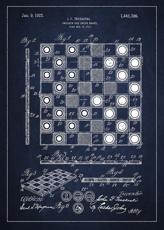 570x799 Vintage Checker And Chess Board Drawing From 1921 Art Print By