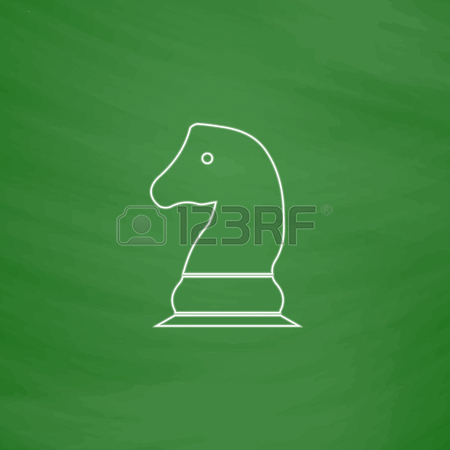 450x450 Chess Knight Outline Vector Icon. Imitation Draw With White Chalk