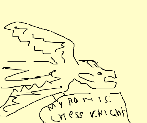 300x250 Dragon Chess Knight (Drawing By Mykolas Auglys)