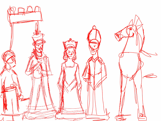 640x480 Chess Pieces Rough Sketch. From Left To Right Pawn, Castle, King
