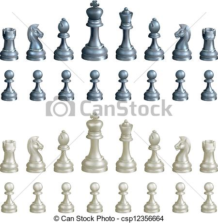 450x460 Chess Pieces Set. An Illustration Of A Complete Set Of Chess