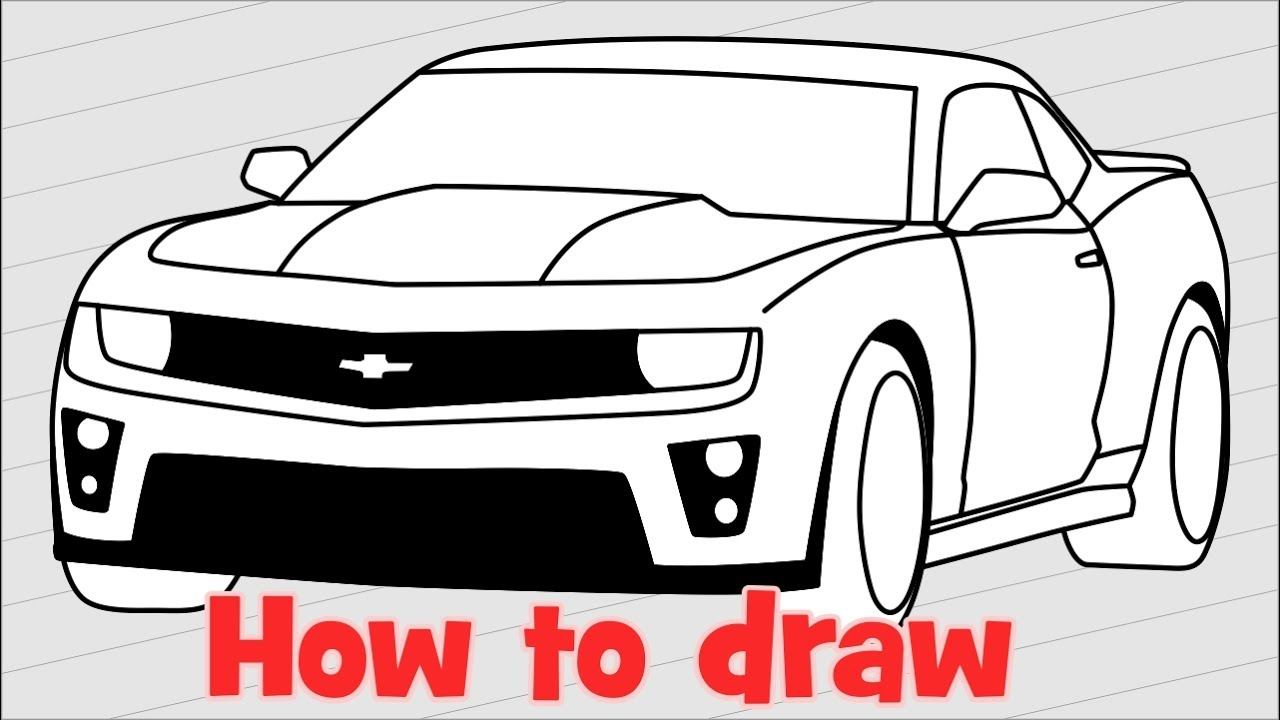 1280x720 How To Draw A Car Chevrolet Camaro Zl1 Step By Step