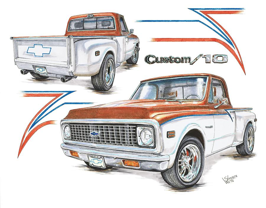 900x705 1972 Chevy C 10 Pickup Drawing By Shannon Watts
