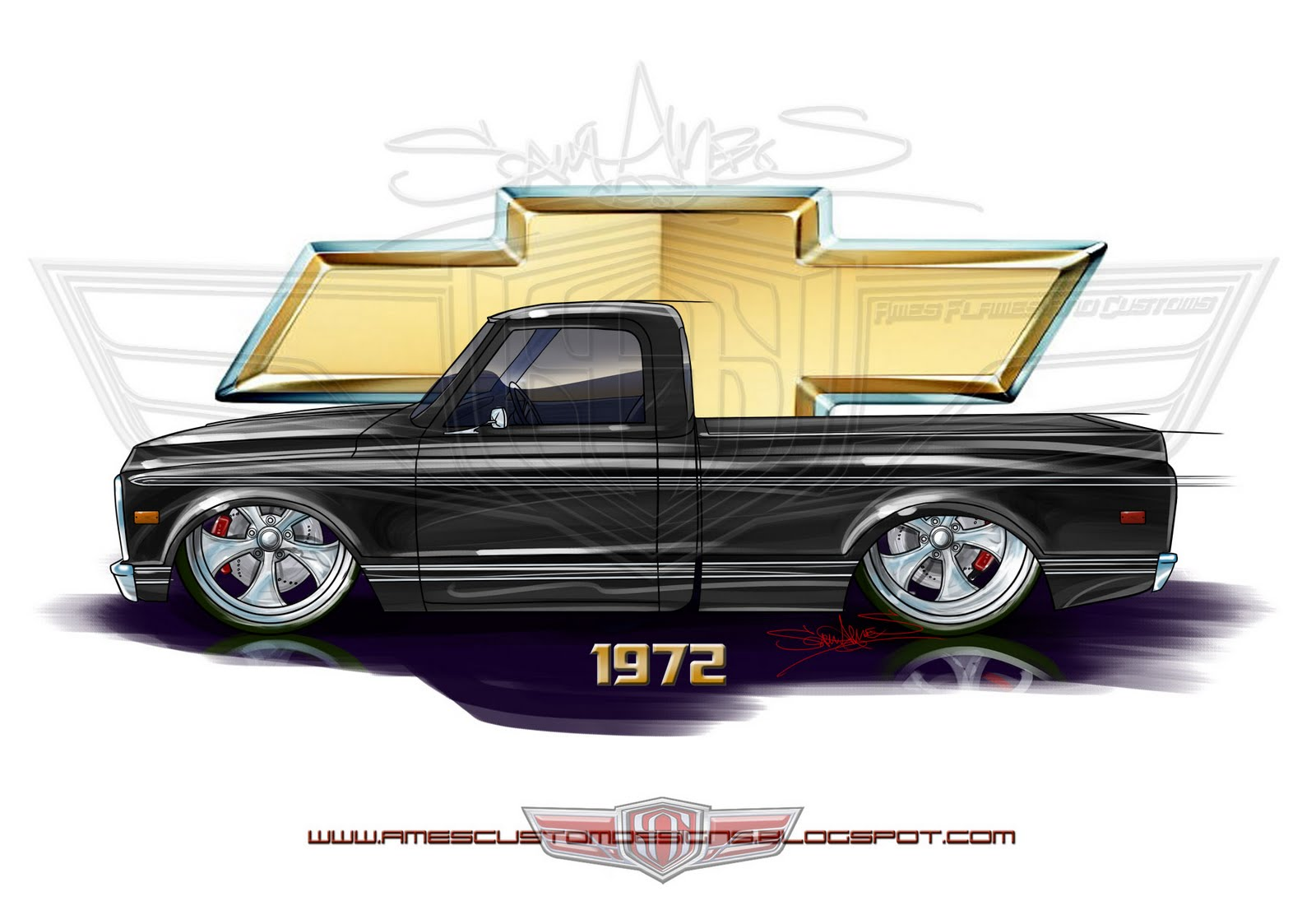Chevy C10 Drawing At Free For Personal Use 1966 Short Bed 1600x1095 Sam Ames 1972 Shortbed Fleetside