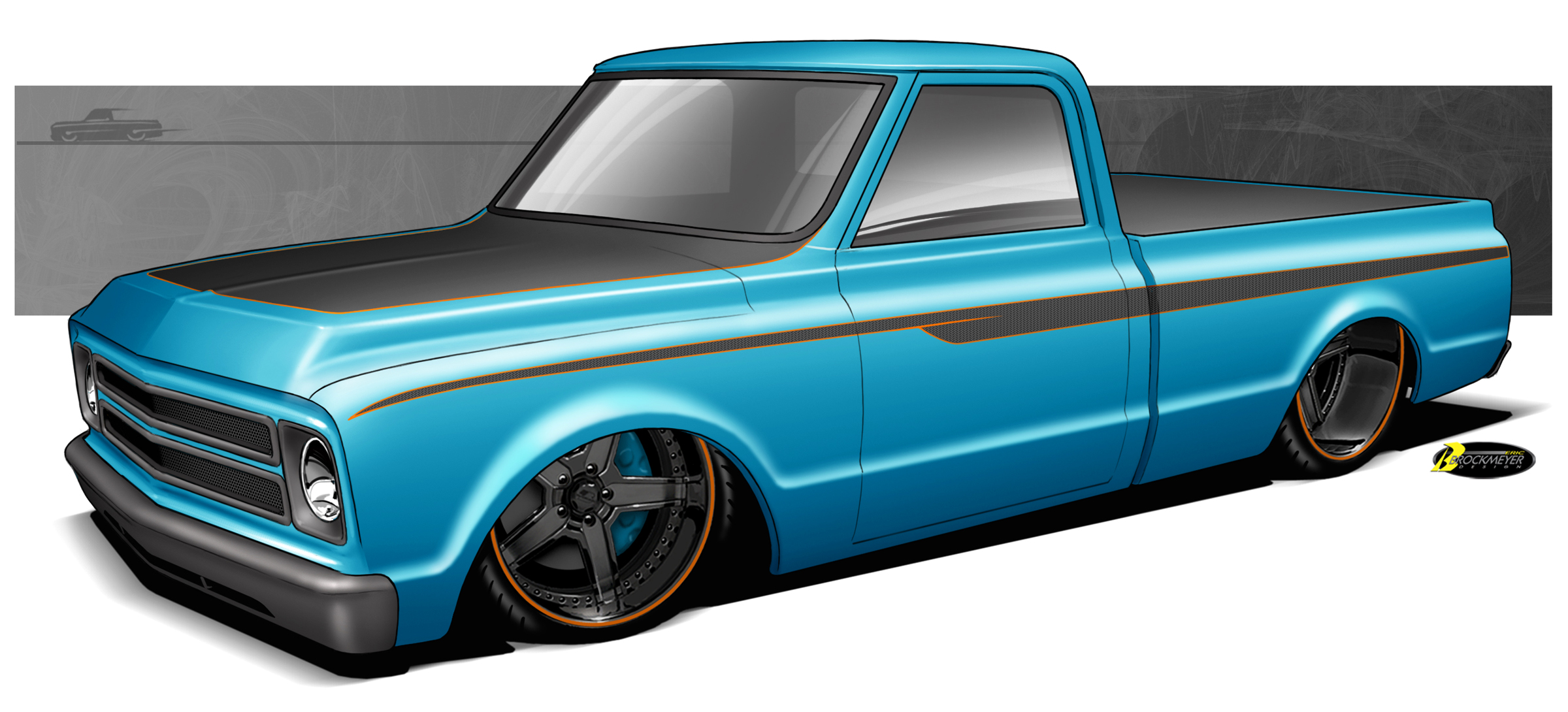 Chevy C10 Drawing At Free For Personal Use 1963 Volkswagen Beetle Wiring Harness 2400x1090 Scotts Hot Rods Project Rendering Cars