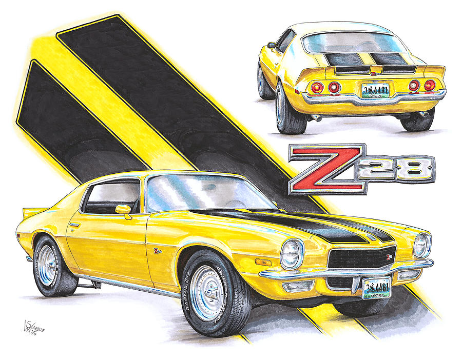 900x704 1970 Chevy Camaro Z28 Drawing By Shannon Watts