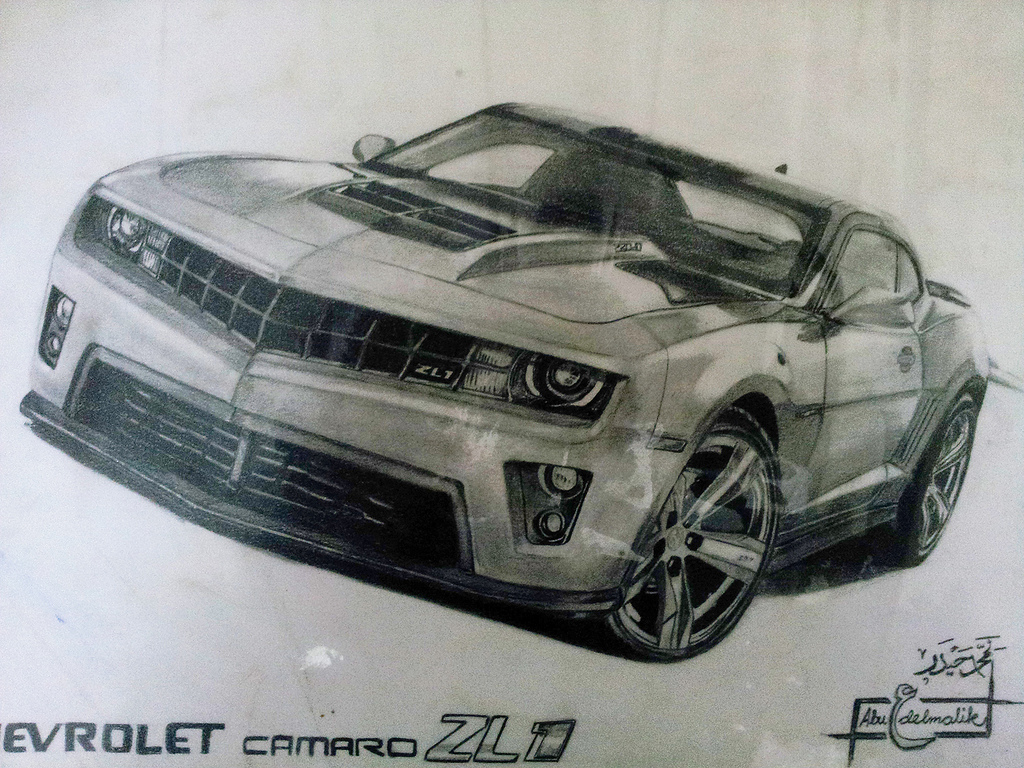 1024x768 Fluidr Chevy Camaro Zl1 Drawing By Abu 3bdelmalek