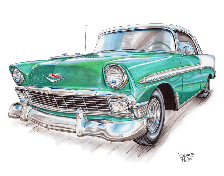 900x707 1956 Chevrolet Bel Air Drawing By Shannon Watts
