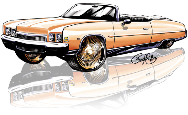 600x367 Chevy Donk Wacom Drawing By Raphael Colon