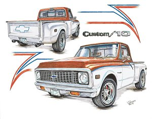 300x235 Chevy Truck Drawings Fine Art America