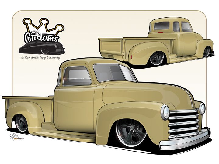 720x540 1953 Chevy Truck Drawing Hot Rod Coloring Pages