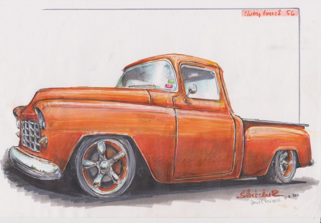 Chevy Truck Drawing At Free For Personal Use Horn Unit Wiring Diagram 1954 Chevrolet 1073x745
