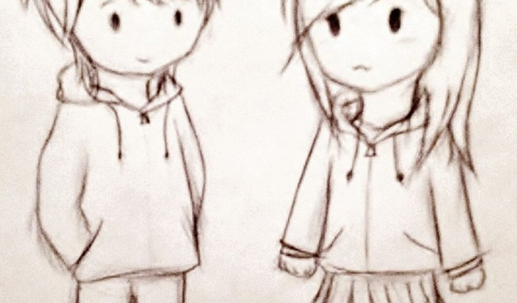 1024x600 Cute Sketches Images A Cute Couple Sketches Cute Couple Chibi