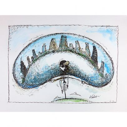 407x407 Chicago Bean Bike Original Cycling Art