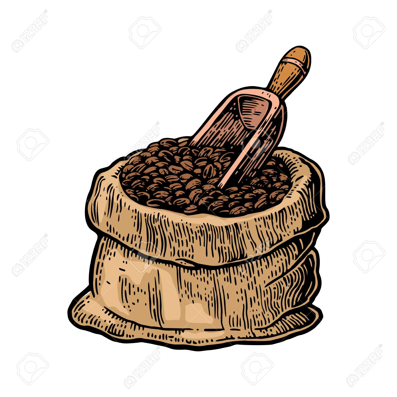 1300x1300 Sack With Coffee Beans With Wooden Scoop. Hand Drawn Sketch Style