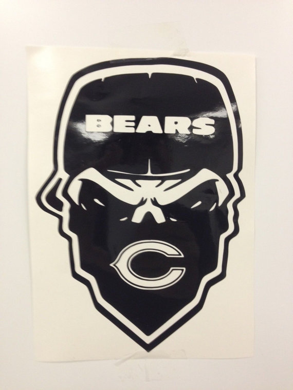 570x760 Chicago Bears Skull Decal Free Shipping