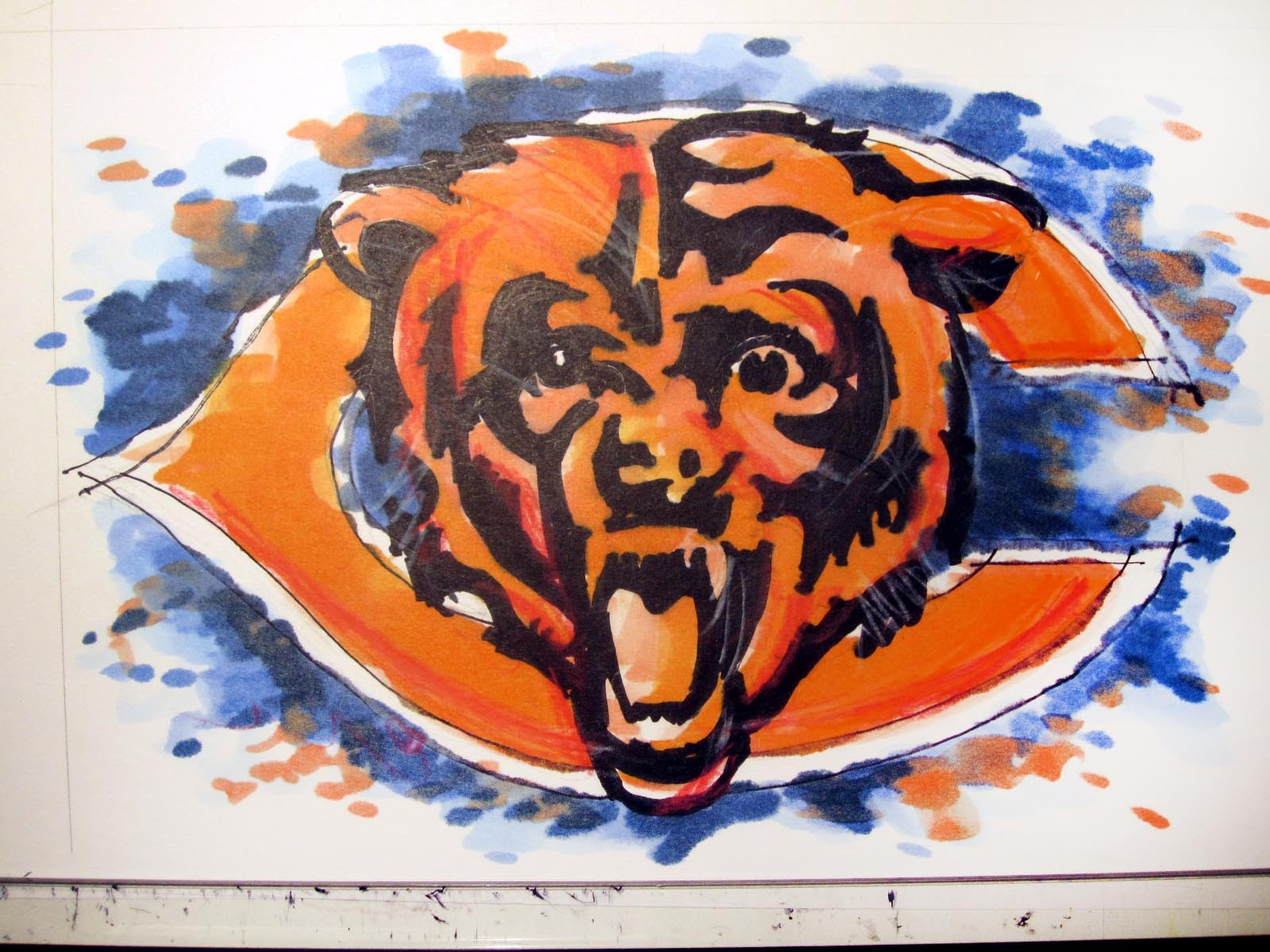 1600x1200 Nfl Football Series Chicago Bears Time Lapse Drawing