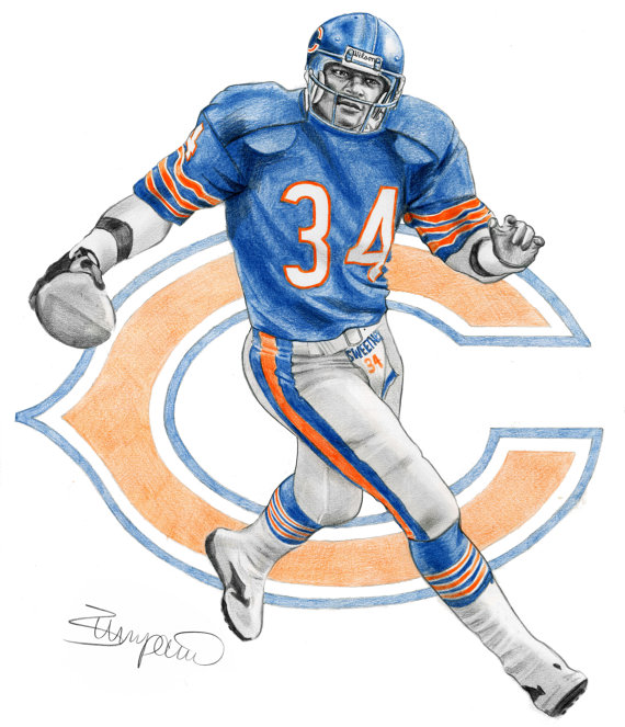 570x663 Walter Payton Chicago Bears Football Pencil Drawing