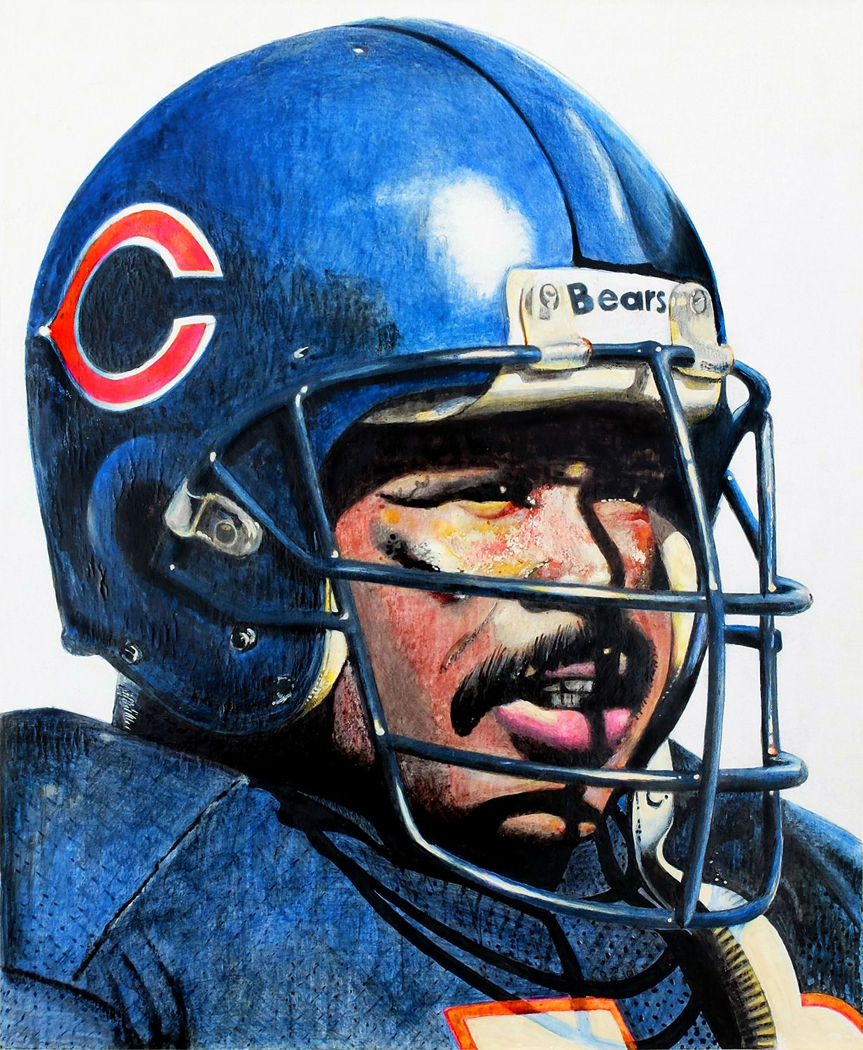 1233x1500 Colored Pencil And Ink Drawing Of The Chicago Bears' Mike
