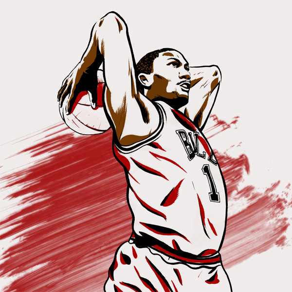 600x600 Derrick Rose Chicago Bulls Nba Illustrated Print Limited