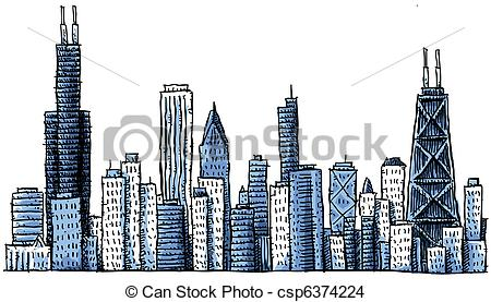 450x277 Cartoon Chicago Skyline. Cartoon Skyline Silhouette Drawing