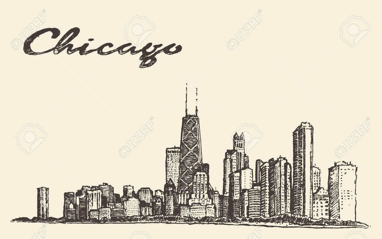 1300x815 Chicago Skyline Big City Architecture Engraving Vector