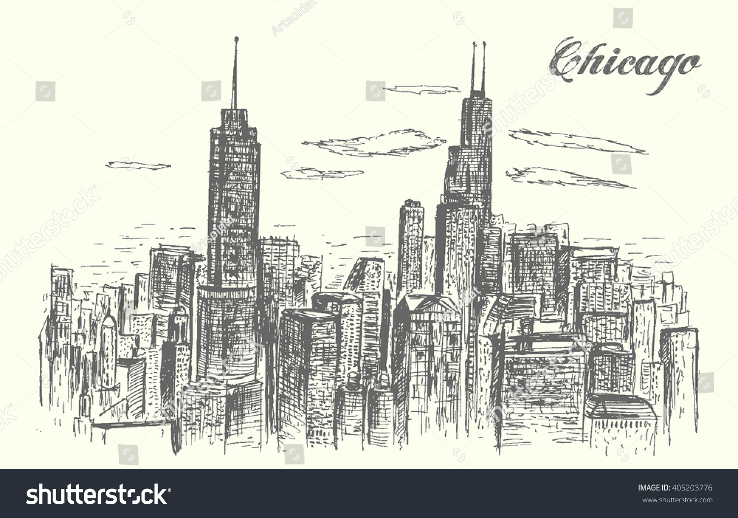1500x1053 Chicago Skyline Drawing Chicago City Pencil Drawing Stock