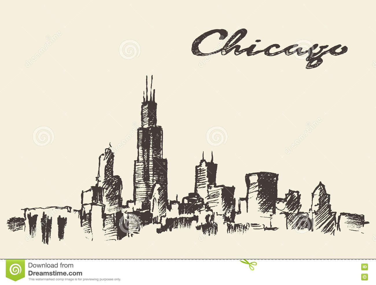 1300x984 Chicago Skyline Drawing Drawn Skyline Chicago