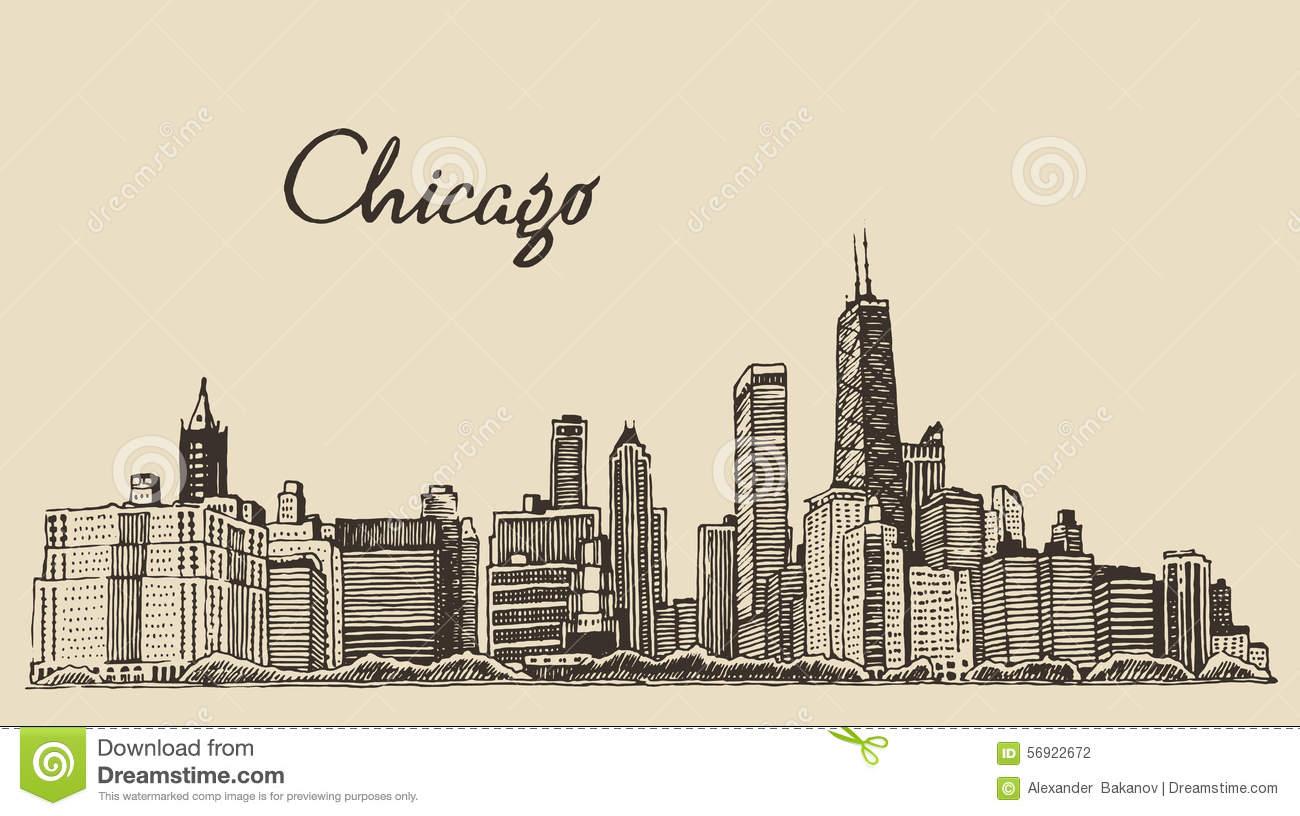 1300x816 Chicago Skyline Outline Sketch Stock Illustration