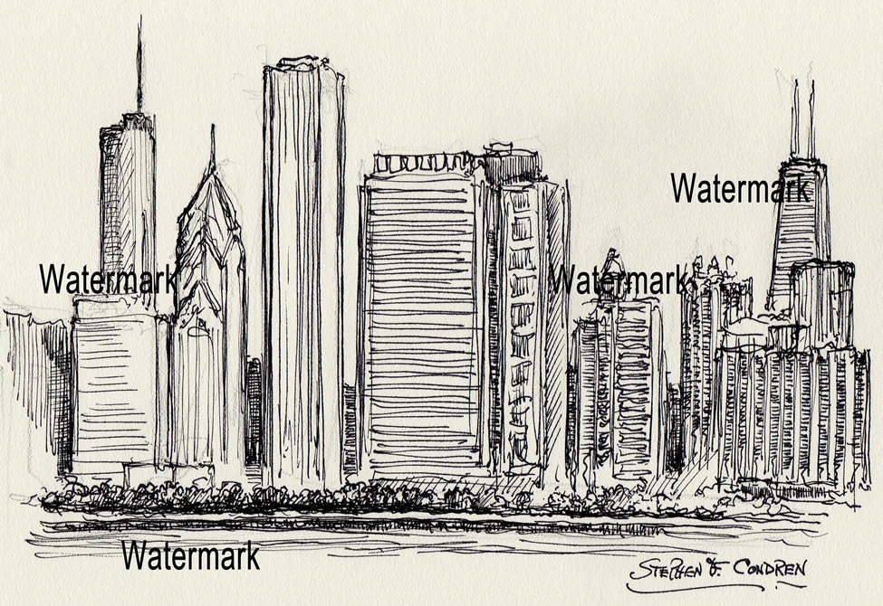 975x670 Chicago Skyline Pen Amp Ink Drawing Of East Randolph Street For Sale