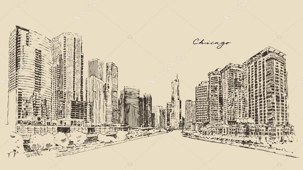 1023x575 Hand Drawn Chicago Skyline Stock Vector Grop