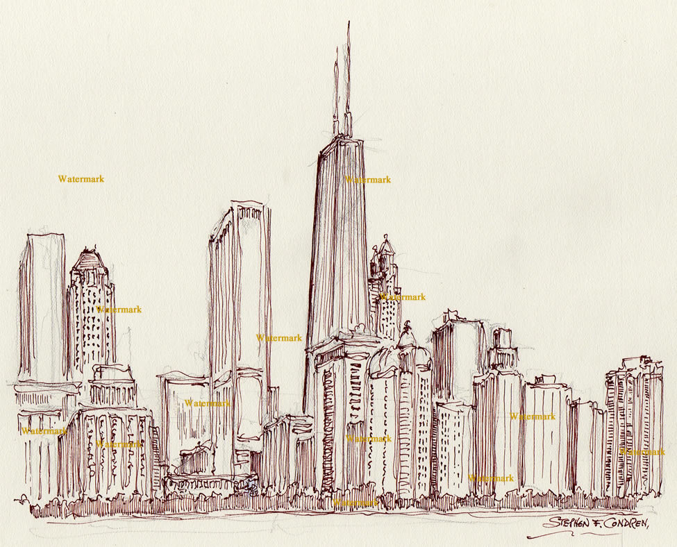 975x788 Skyline Pen Amp Ink Drawing Of Near North Side In Streeterville.