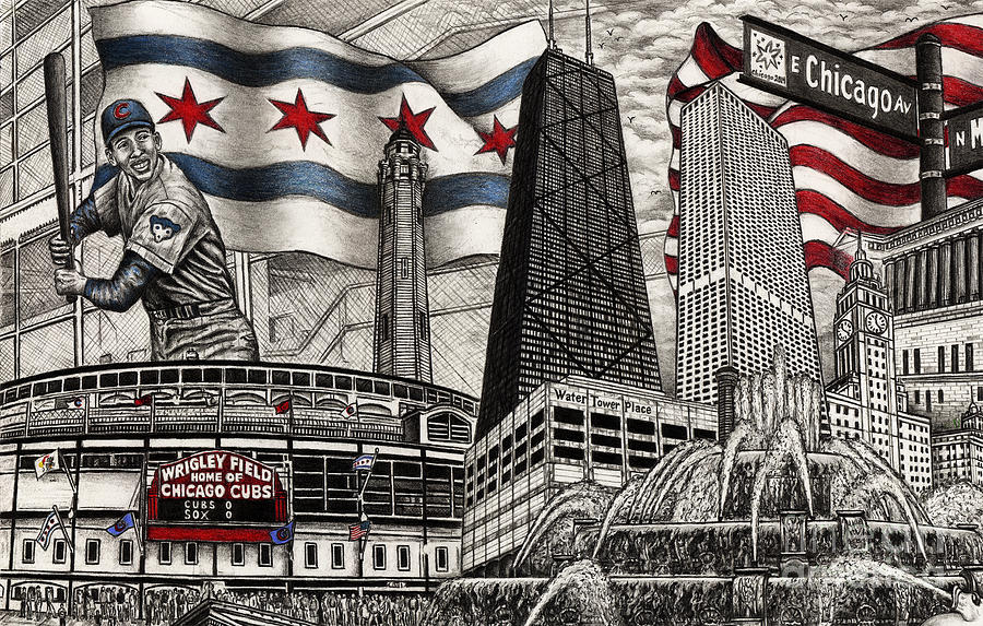 900x573 Chicago Cubs, Ernie Banks, Wrigley Field Drawing By Omoro Rahim