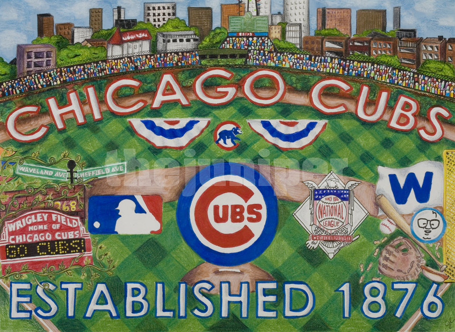 900x657 Chicago Cubs Drawing By Thejuniper