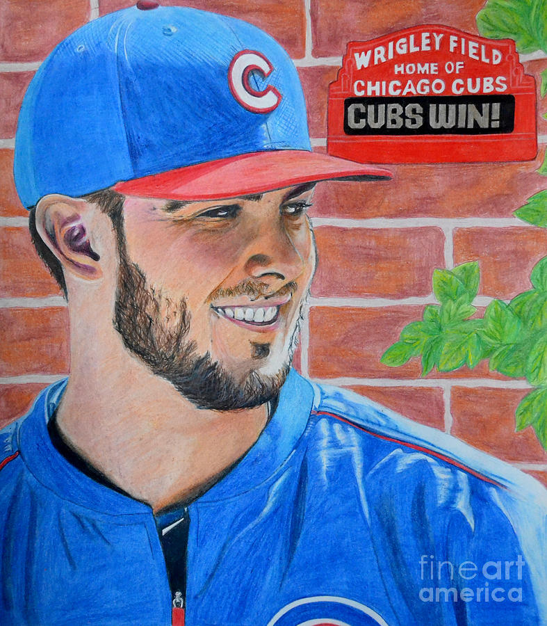787x900 Chicago Cubs Kris Bryant Portrait Drawing By Melissa Goodrich