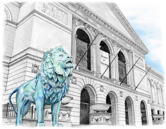 570x444 Chicago Art Institute Drawing Lion Customize